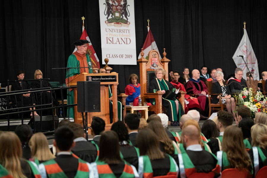 Dr. Albert Fogarty, one of three honorary degree recipients in 2019, addresses graduates during UPEI's Saturday morning Convocation ceremony last May.