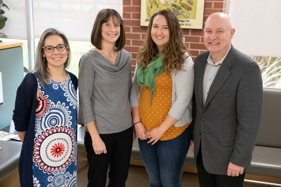Dr. Heather Gunn McQuillan, Dr. Jill Wood, Dr. Caitlin Matters, and Dean Greg Keefe