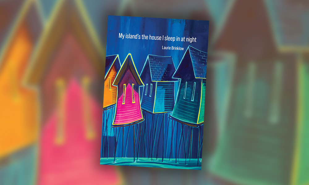 "The cover of a book entitled ""My island's the house I sleep in at night"" with a painted image of houses perched on stilts sticking out of the water"