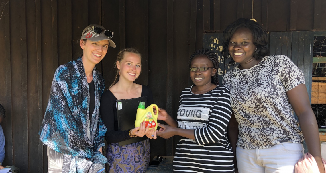 two upei foods and nutrition students and two women from kenya
