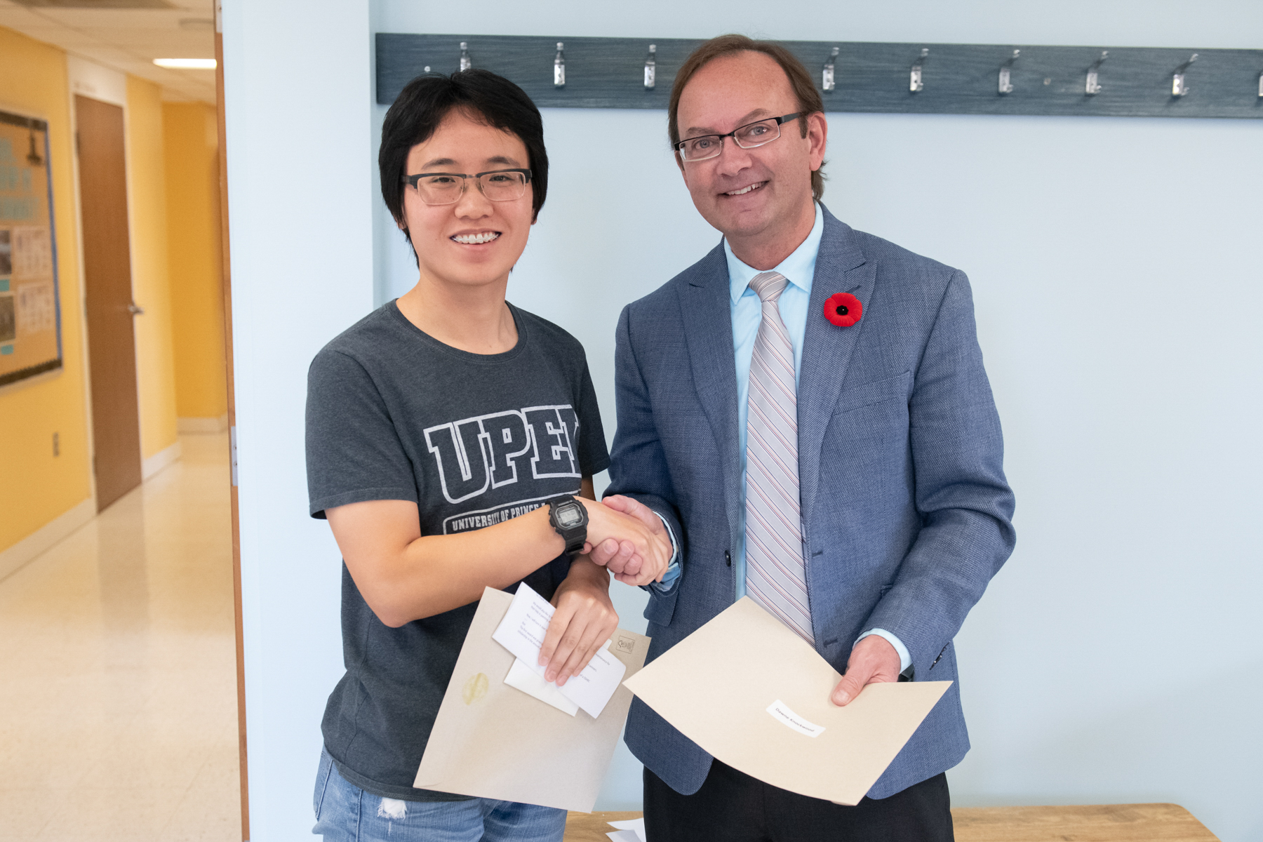 upei student han xu and dean of education ron macdonald