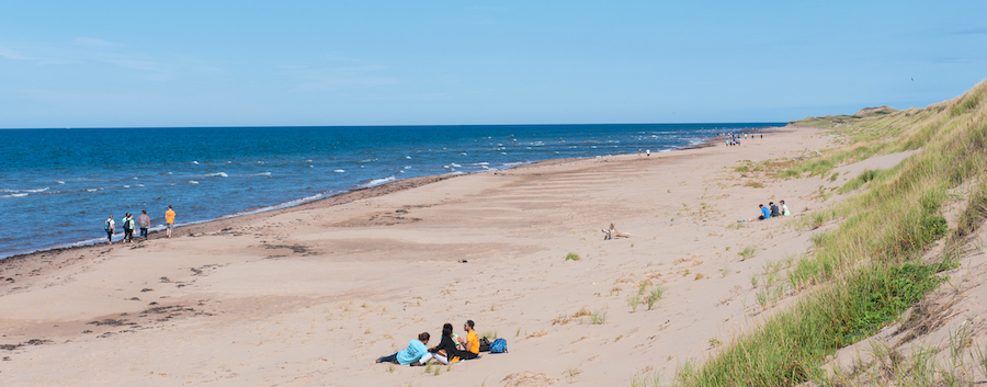 Students enjoy a PEI beach