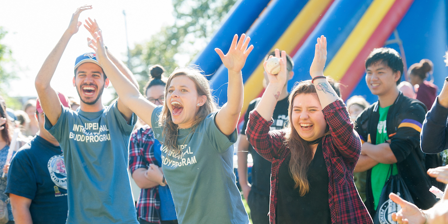 cheering students at upei campus carnival