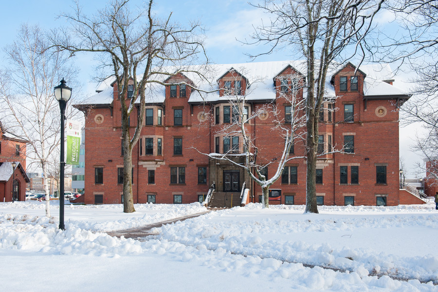 dalton hall exterior in winter