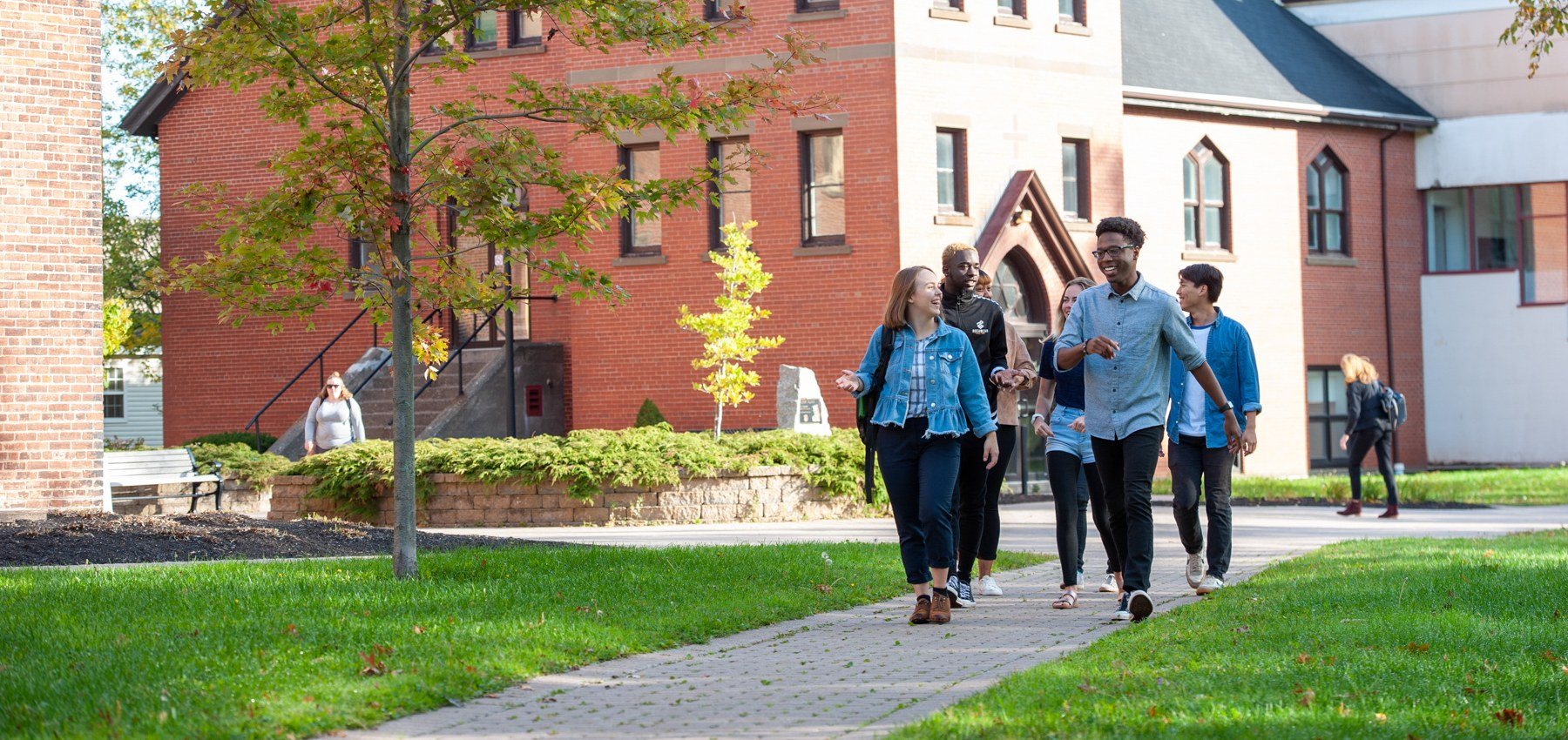 students walking through the quad