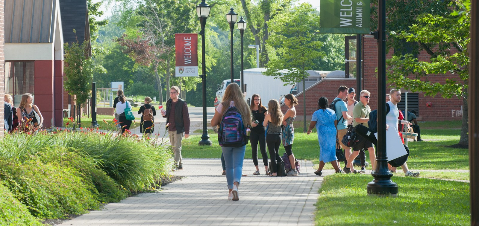 students walking in UPEI's historic quadrangle