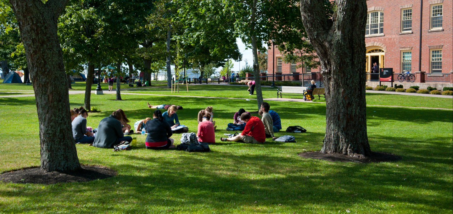 Students sitting on a circle in the UPEI Quad