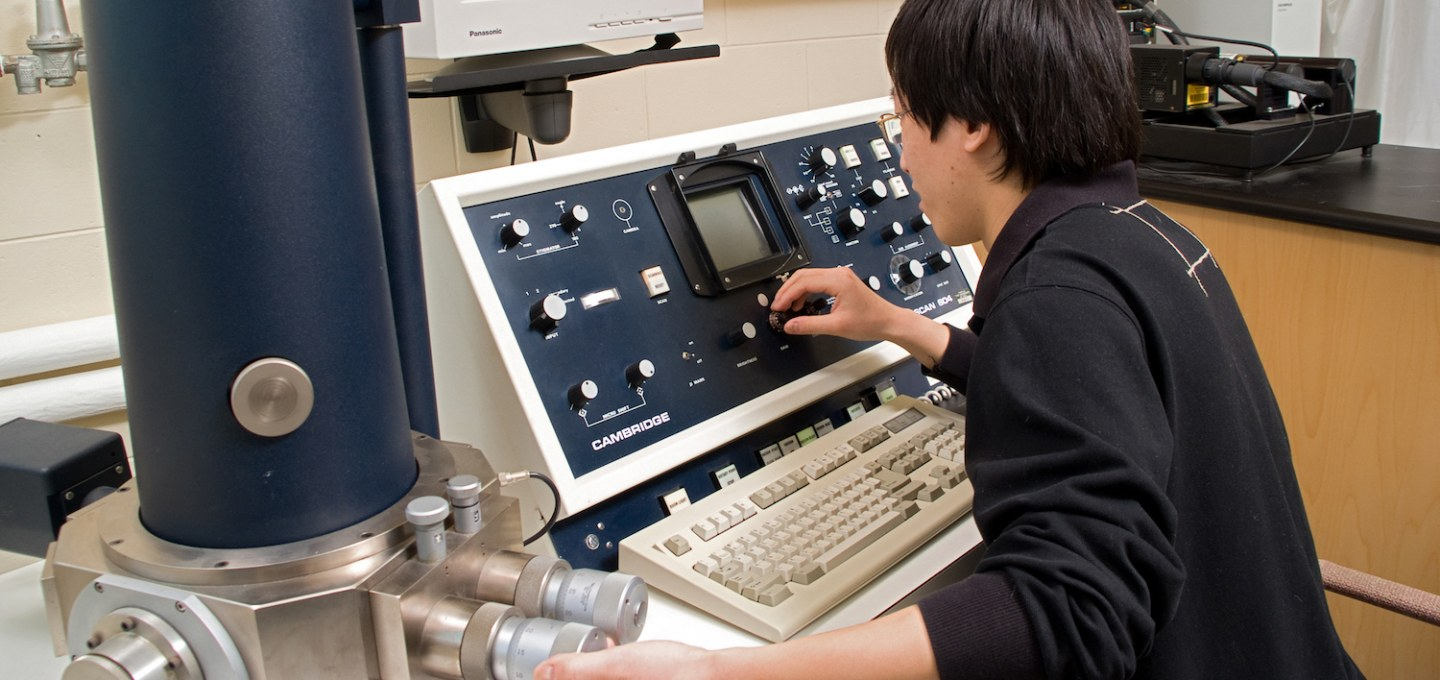 A student works in a lab