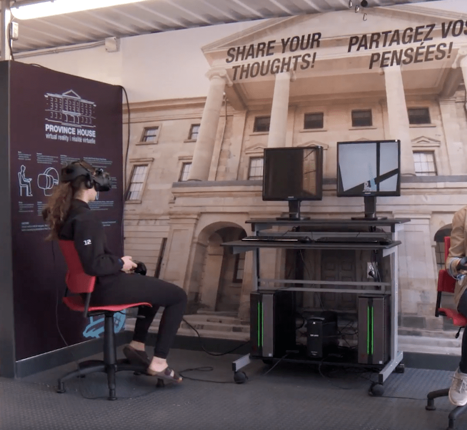 two engineering students in a virtual reality setup