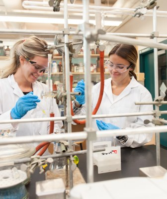 two Master of Science program students in the chemistry lab