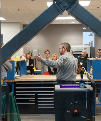 industry representatives touring UPEI's Engineering labs
