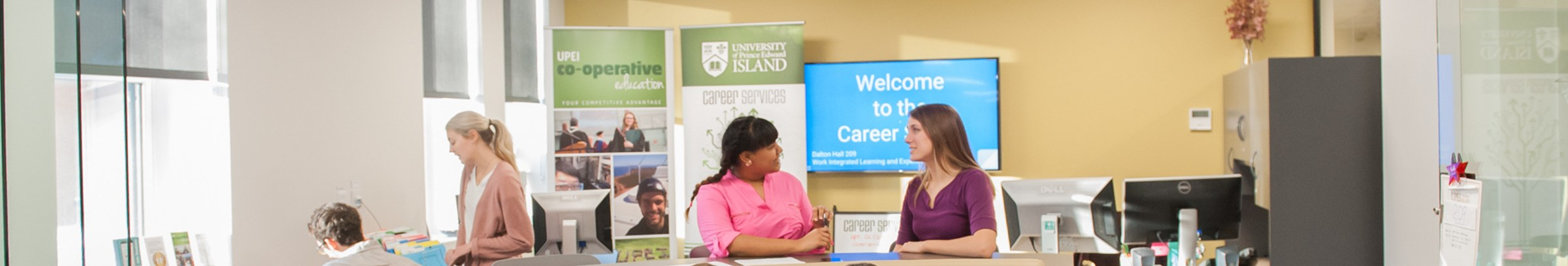 two students at the UPEI career studio
