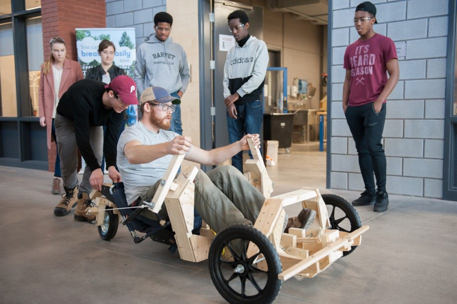 Sustainable Design Engineering students fine tune a gravitational powered car