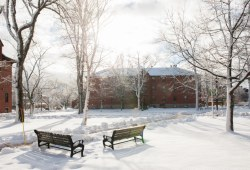 A snowy winter scene on campus