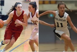 Two photos of female basketball players