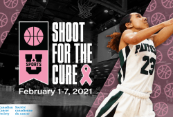 An edited graphic with a female basketball player beside the logo for Shoot for the Cure