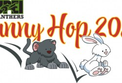 "A cartoon image of a baby panther chasing a bunny with the words ""Bunny Hop 2021"" above them"