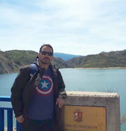 upei student eric andersen at a dam in spain