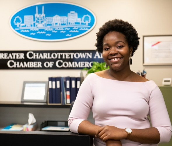 Elizabeth Iwunwa at the Greater Charlottetown Chamber of Commerce