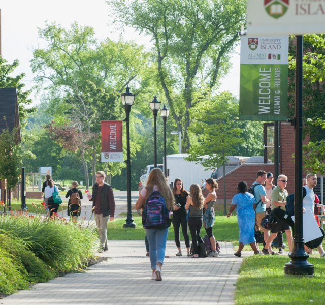 Students walk around the UPEI campus