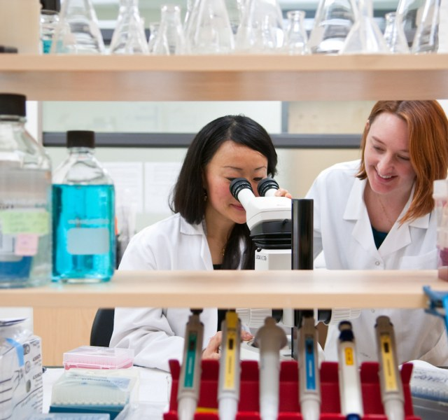 female biologists looking into microscope