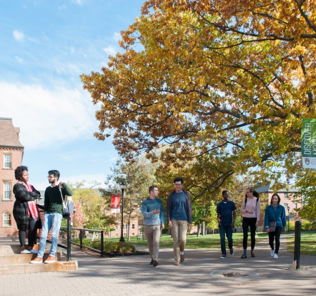 students in the UPEI quad