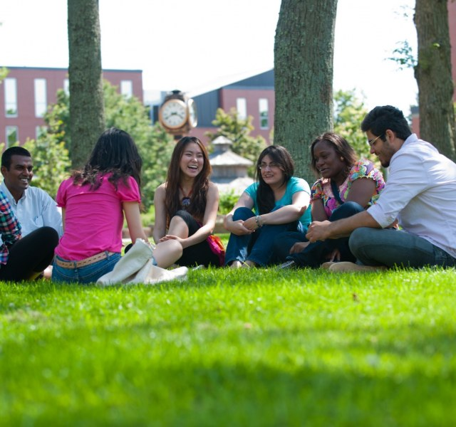 upei international students talking in the quad