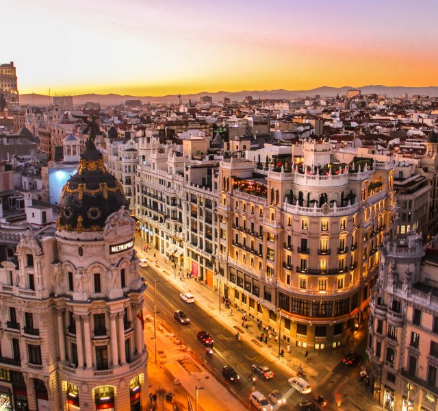 madrid skyline at sunset