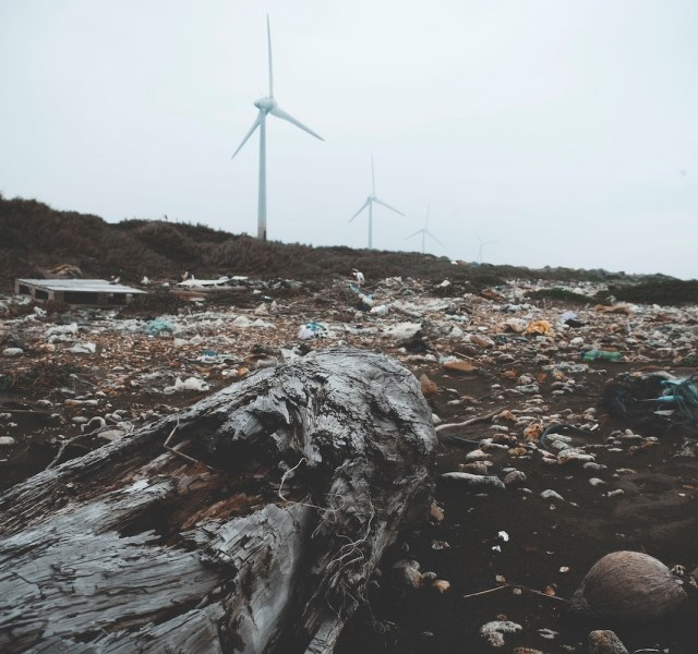 a garbage-covered shoreline with wind turbines in the background